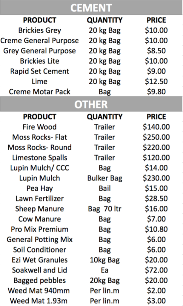 Soil City Price List 2